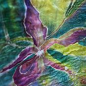 Аксессуары ручной работы. Ярмарка Мастеров - ручная работа Орхидеи батик, палантин двусторонний валяный из мериноса. Handmade.