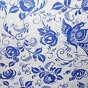 """Материалы для творчества ручной работы. Ярмарка Мастеров - ручная работа Ткань """"Гжель"""" на белом. Handmade."""