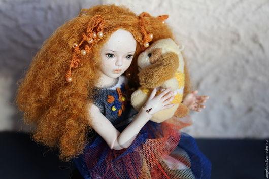 Коллекционные куклы ручной работы. Ярмарка Мастеров - ручная работа. Купить Карина (фарфоровая шарнирная кукла). Handmade. Желтый, бжд