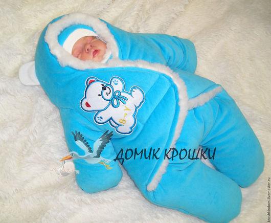 """Для новорожденных, ручной работы. Ярмарка Мастеров - ручная работа. Купить Комбинезон-конверт для новорожденного """"Мишка"""" ярко-бирюзовый. Handmade."""
