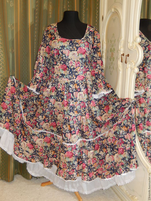 Платья ручной работы. Ярмарка Мастеров - ручная работа. Купить Большой размер.Платье в пол в стиле бохо.. Handmade. Платье
