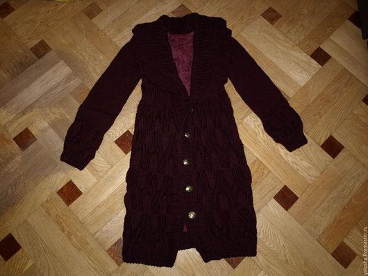 Верхняя одежда ручной работы. Ярмарка Мастеров - ручная работа. Купить Пальто вязаное. Handmade. Бордовый, пальто