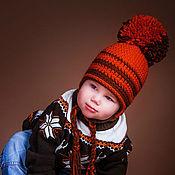 Работы для детей, ручной работы. Ярмарка Мастеров - ручная работа Вязаная шапочка с помпоном детская. Handmade.