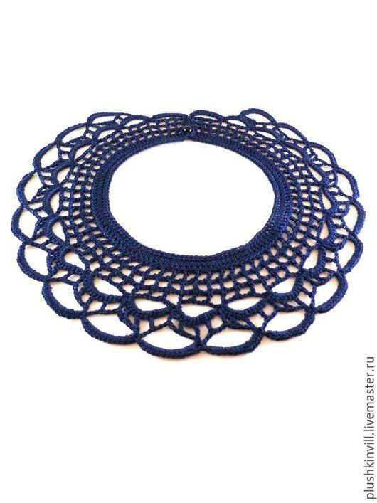 Воротнички ручной работы. Ярмарка Мастеров - ручная работа. Купить Синий накладной воротник в стиле бохо. Handmade. Тёмно-синий