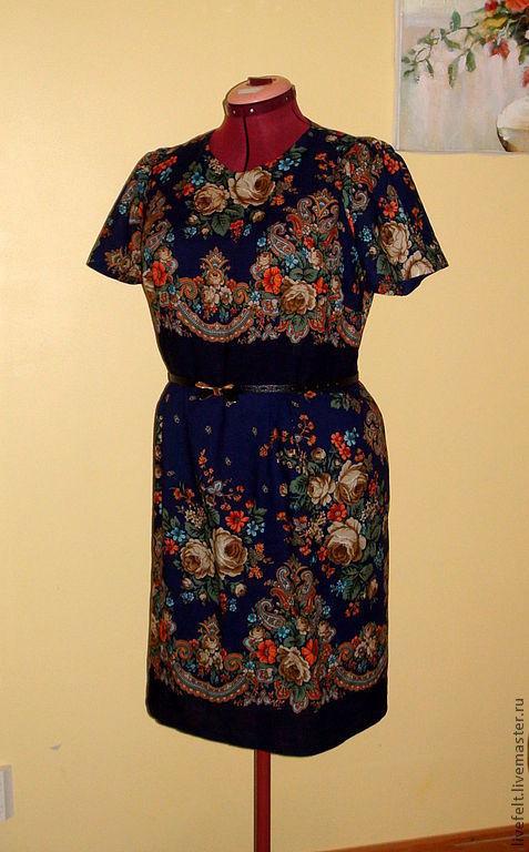 """Платья ручной работы. Ярмарка Мастеров - ручная работа. Купить Платье"""" Тёмно-синее"""" из павлопосадского платка. Handmade. Длинный, подкладка"""
