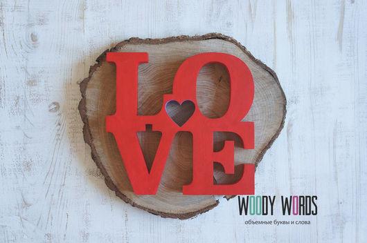 Интерьерные слова ручной работы. Ярмарка Мастеров - ручная работа. Купить Слово LOVE с сердечком. Handmade. Ярко-красный