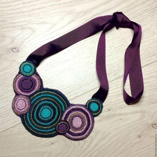 Колье, бусы ручной работы. Ярмарка Мастеров - ручная работа. Купить Украшение Cercles Violets et Turquoises. Handmade.