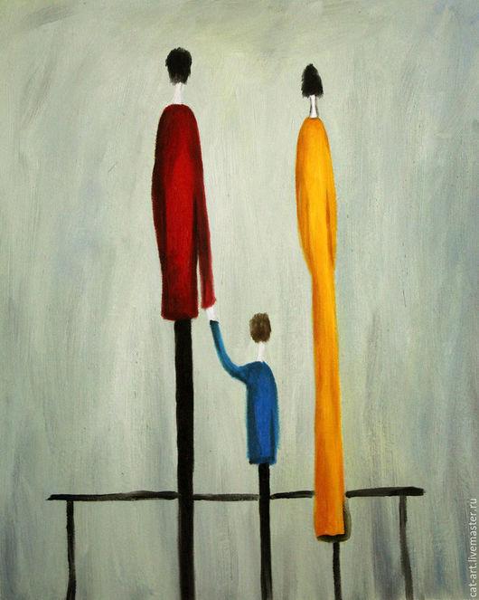 Абстракция ручной работы. Ярмарка Мастеров - ручная работа. Купить Абстрактная композиция семья - картина маслом на холсте. Handmade. Бирюзовый