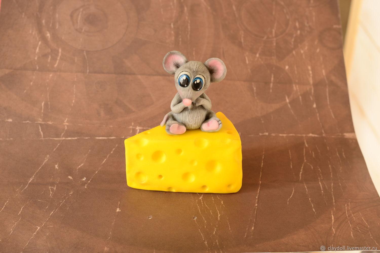 Мышка с сыром (из полимерной глины), Игрушки, Москва, Фото №1