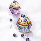 Картины и панно ручной работы. Ярмарка Мастеров - ручная работа Картина  акварелью. Черничные кексы.. Handmade.