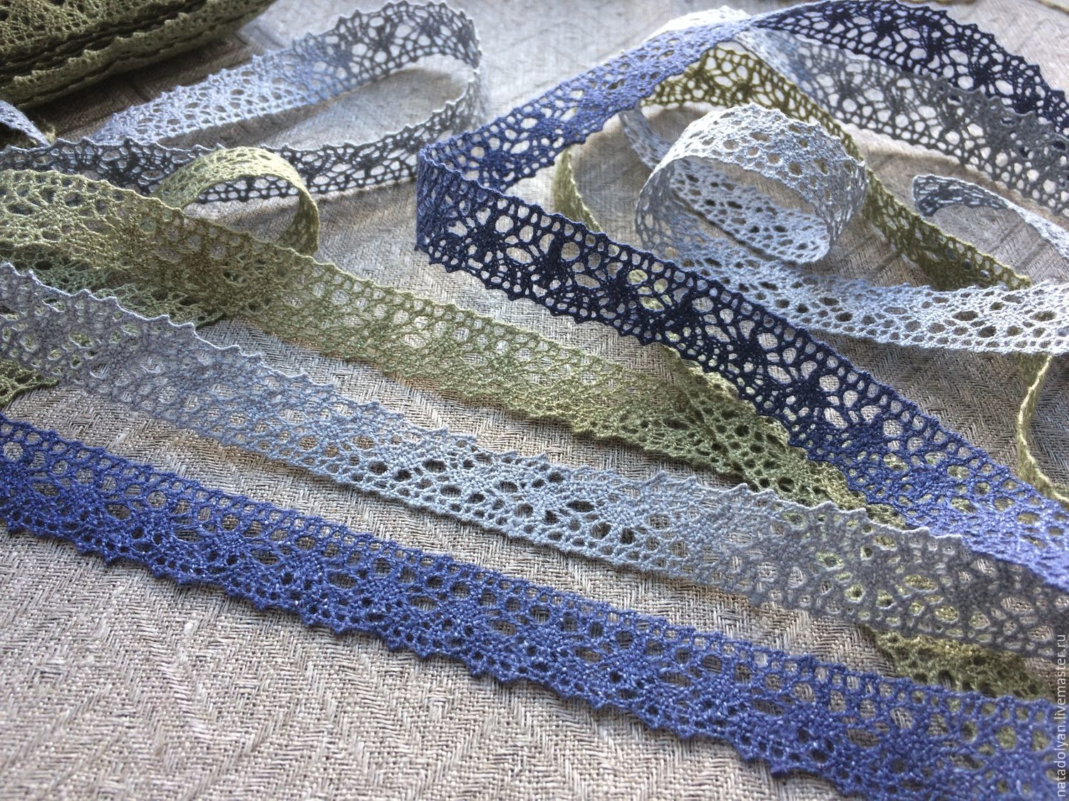 Linen lace 'olive, gray-blue and cornflower' 17mm, Lace, Ivanovo,  Фото №1