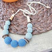 """Одежда ручной работы. Ярмарка Мастеров - ручная работа Вязаные бусы, слингобусы """"В ритме вальса"""" синие. Handmade."""