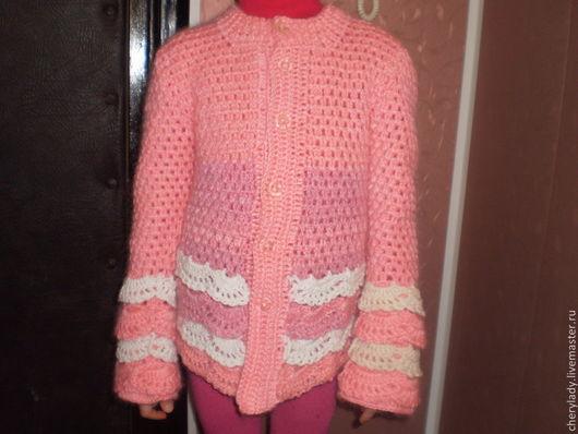 """Одежда для девочек, ручной работы. Ярмарка Мастеров - ручная работа. Купить жакет для девочки 'Розовое чудо"""". Handmade. Розовый, цветы"""