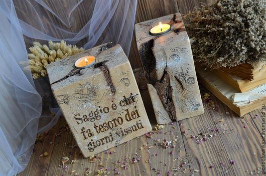 Деревянные подсвечники в стиле старого итальянского Кантри. Необычное дополнение к интерьеру в стиле эко и рустикаль.