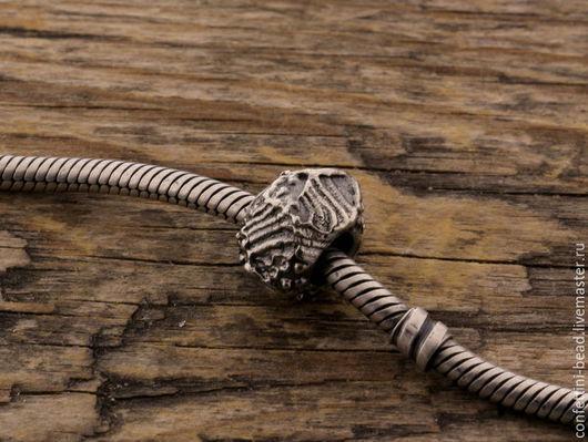 """Браслеты ручной работы. Ярмарка Мастеров - ручная работа. Купить """"Древнее море"""" серебряная бусина для браслетов. Handmade. Серебряный, море"""