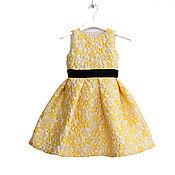 Одежда детская handmade. Livemaster - original item Yellow elegant dress for girls made of jacquard with a black belt. Handmade.