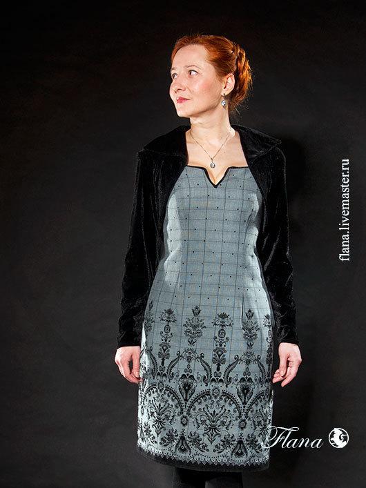 Вечернее платье с бархатным болеро. Индивидуальный пошив, Флана