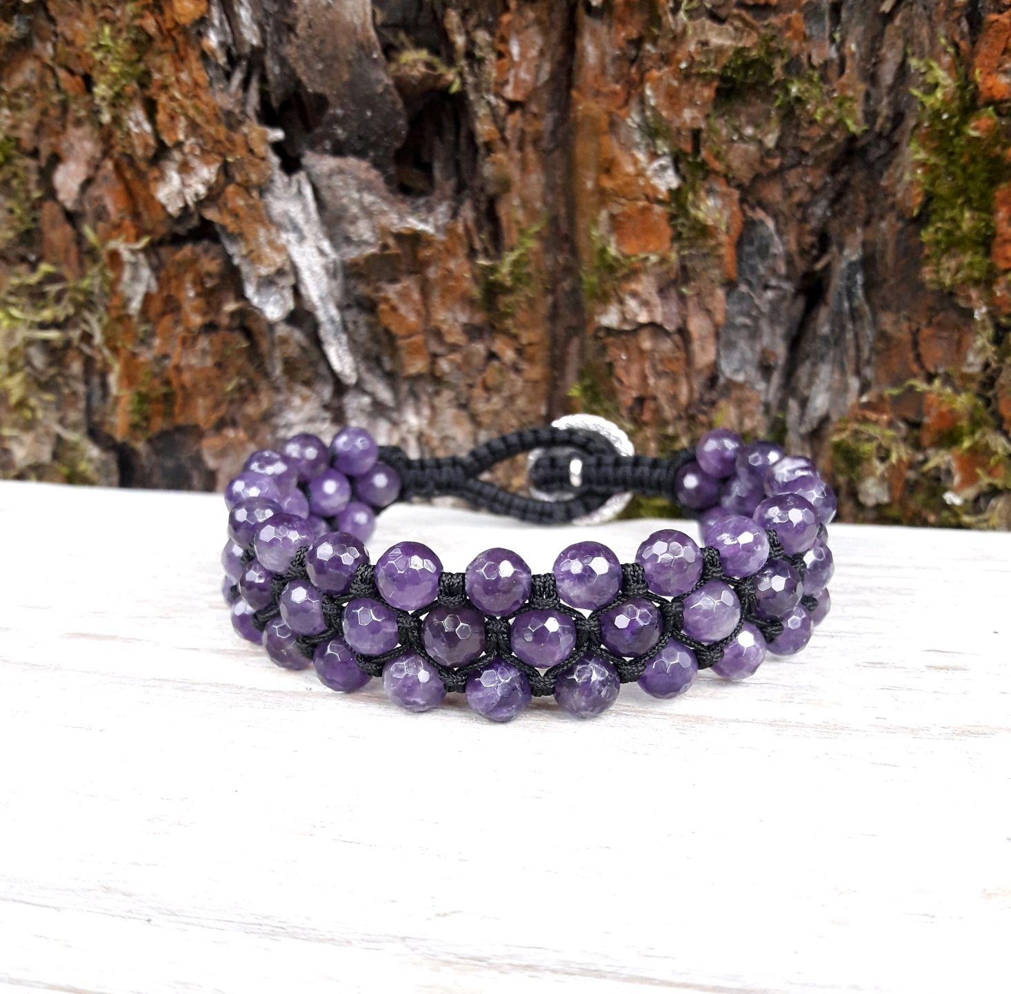 Amethyst braided bracelet, Bead bracelet, Moscow,  Фото №1