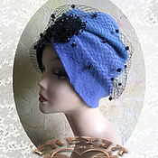 "Аксессуары handmade. Livemaster - original item Copy of Chalma, turban,"" Blue"" wool, knitted, felted. Handmade."