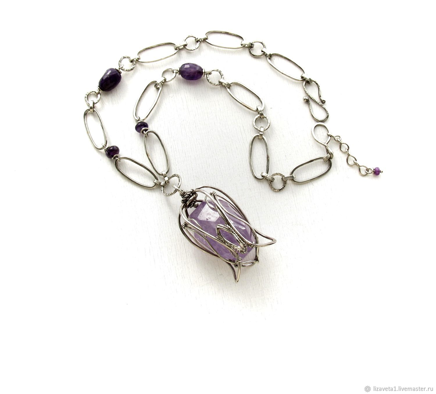 Tulip necklace with amethyst purple necklace purple flower decoration, Necklace, Moscow,  Фото №1