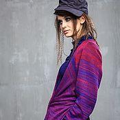 Одежда ручной работы. Ярмарка Мастеров - ручная работа КН_011 Кардиган-фрак-трансформер длинный «Фиолетовый каньон». Handmade.