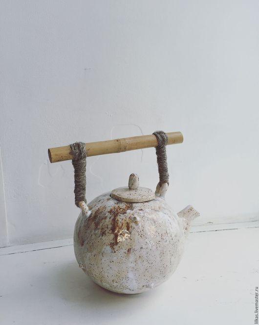 """Чайники, кофейники ручной работы. Ярмарка Мастеров - ручная работа. Купить """" Кремовый.."""". Handmade. Бежевый, глазурь, бамбук"""
