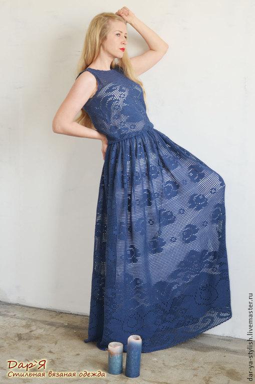 """Платья ручной работы. Ярмарка Мастеров - ручная работа. Купить """"ПолУночная Роза"""" платье в филейной технике. Handmade. Платье"""