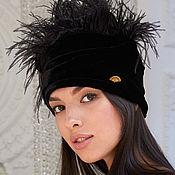 Аксессуары handmade. Livemaster - original item Black velevt turban hat hijab with feathers. Handmade.