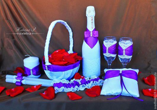Свадебные аксессуары ручной работы. Ярмарка Мастеров - ручная работа. Купить Свадебный набор в фиолетовых тонах. Handmade. Комбинированный