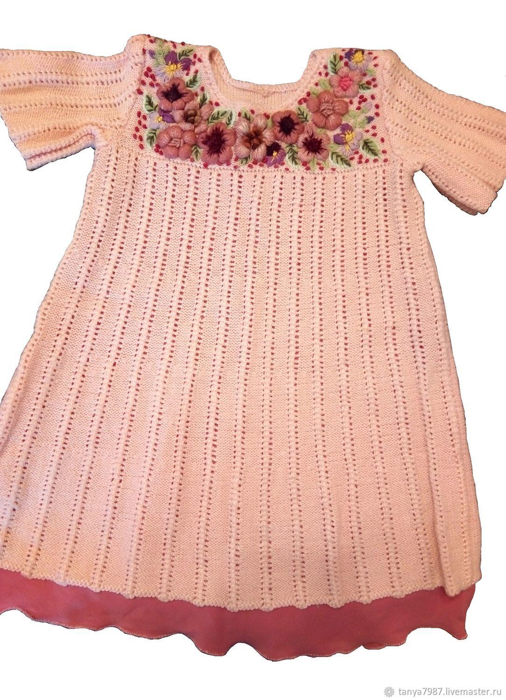 Вязаные платья с объёмной вышивкой цветами, Платья, Москва,  Фото №1