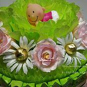 """Букеты ручной работы. Ярмарка Мастеров - ручная работа Торт-шкатулка из конфет """"В капусте"""". Handmade."""
