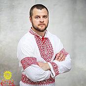 Русский стиль handmade. Livemaster - original item Wedding shirt with belt in Slavic style.. Handmade.
