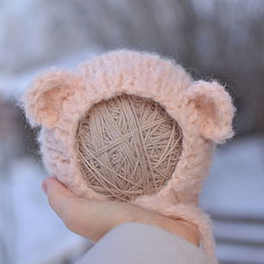Clothing handmade. Livemaster - original item Hat Bear for a photo session newborn pink. Handmade.