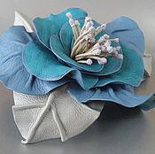 Украшения handmade. Livemaster - original item Brooch flower leather rose
