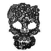 Аппликации ручной работы. Ярмарка Мастеров - ручная работа Кружевной череп. Handmade.