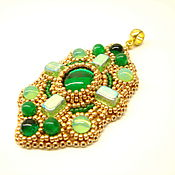 Украшения handmade. Livemaster - original item Green Byzantine Pendant with beads and cabochons Empress Helena. Handmade.