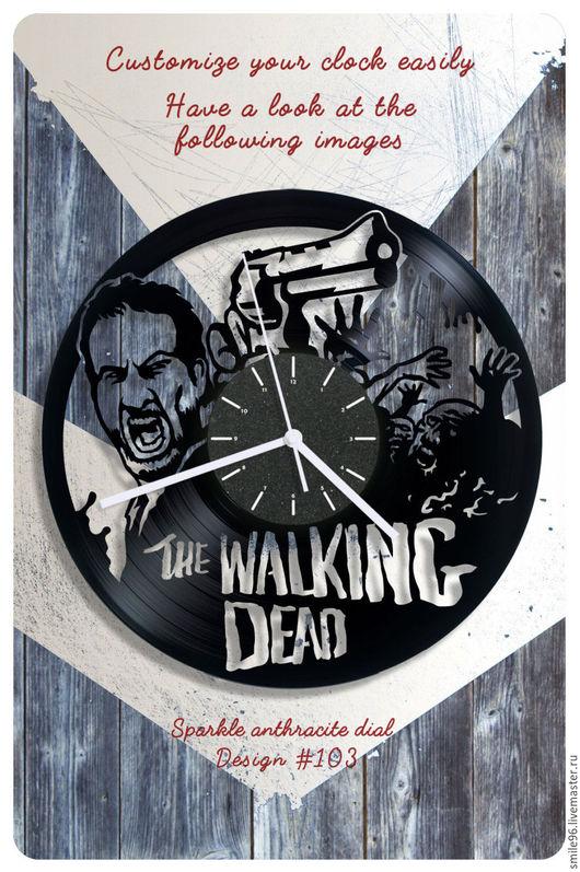 """Часы для дома ручной работы. Ярмарка Мастеров - ручная работа. Купить Часы из пластинки """"The Walking Dead"""". Handmade."""
