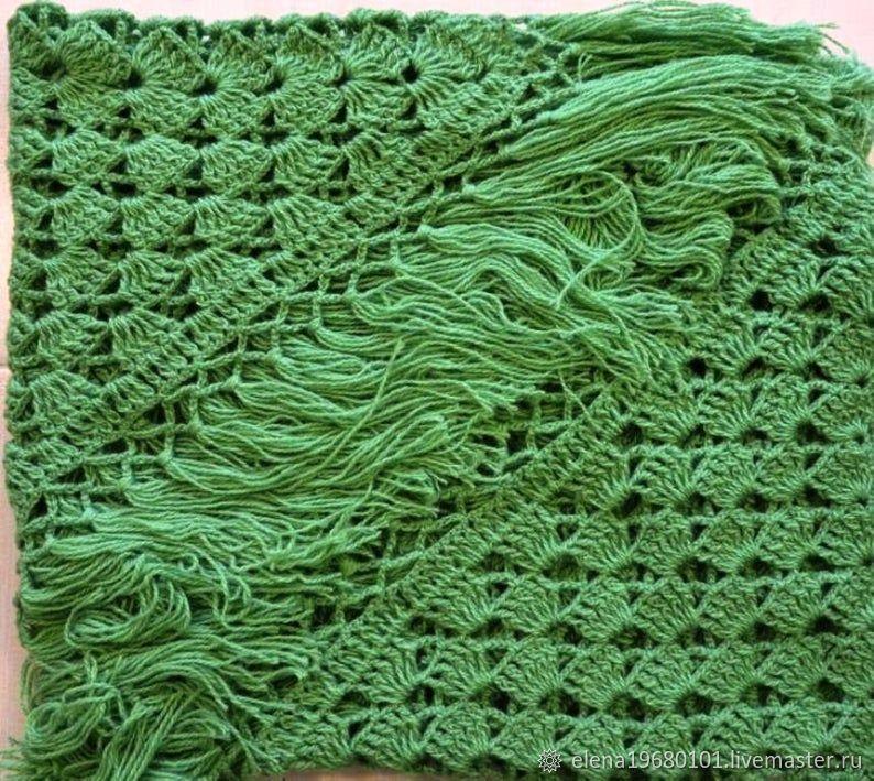 Shawl Crocheted SARAH 220*105 cm Triangular with Tassels #001, Shawls, Nalchik,  Фото №1