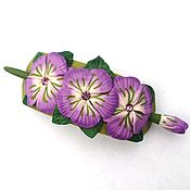 Украшения handmade. Livemaster - original item Barrette Violet (flowers, brooch, hair pin shawl). Handmade.