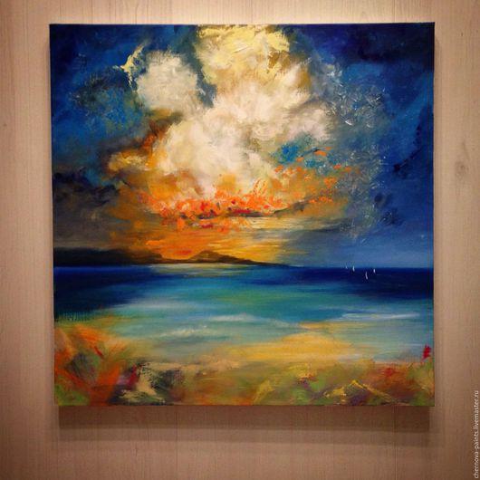 Пейзаж ручной работы. Ярмарка Мастеров - ручная работа. Купить Авторская картина маслом Просто небо. Просто море. Handmade.