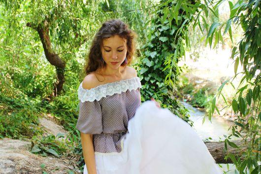 """Блузки ручной работы. Ярмарка Мастеров - ручная работа. Купить Бохо блузка """"Нежность лета"""". Handmade. Комбинированный, Бохо платье"""