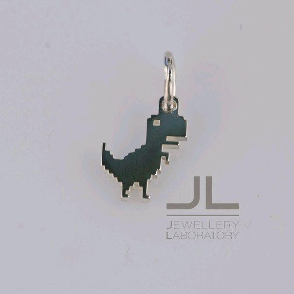 Silver pendant pixel dinosaur ' No Internet', Pendants, Kazan,  Фото №1
