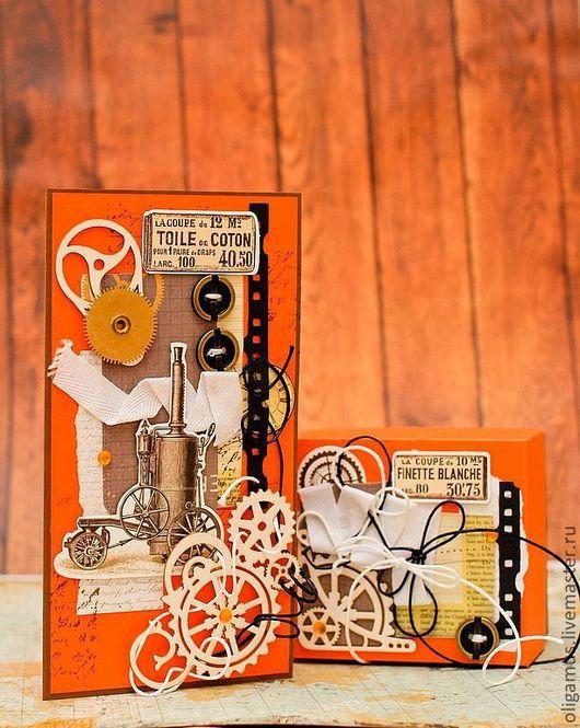 """Открытки для мужчин, ручной работы. Ярмарка Мастеров - ручная работа. Купить Открытка и коробочка для мужчины """"Мануфактурщики"""". Handmade. коробочка"""