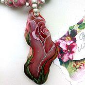 Украшения handmade. Livemaster - original item Rosebud - decorating with lacquer miniature on the stone (oil painting). Handmade.