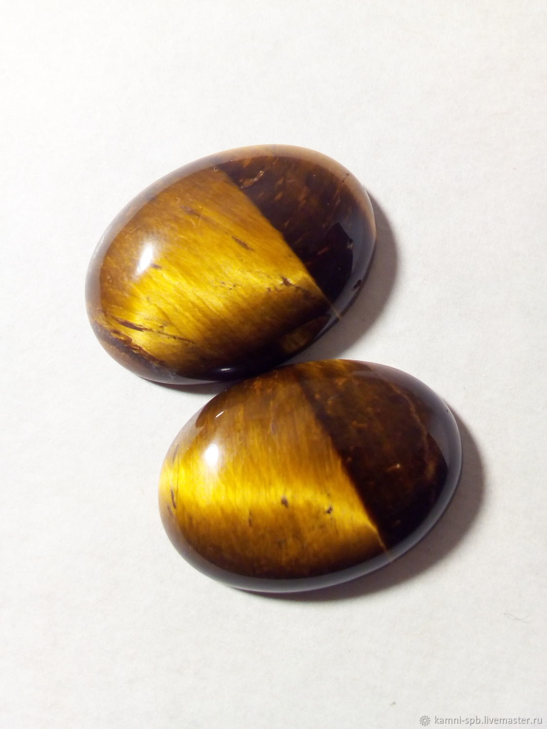 Tiger eye . A pair of cabochons, Cabochons, St. Petersburg,  Фото №1