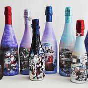 Подарки к праздникам ручной работы. Ярмарка Мастеров - ручная работа Новогоднее оформление бутылок. Handmade.