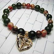 Украшения handmade. Livemaster - original item Bracelet with jade and African agate