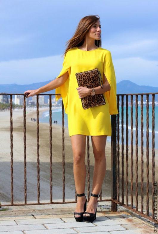 """Платья ручной работы. Ярмарка Мастеров - ручная работа. Купить ПЛАТЬЕ """"ТЕЛЬ-АВИВ"""". Handmade. Желтый, платье с длинным рукавом"""