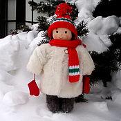 Мягкая кукла в шубе, шапке валенках и варежках