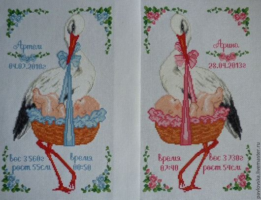 """Подарки для новорожденных, ручной работы. Ярмарка Мастеров - ручная работа. Купить Вышитая метрика """"Аист с младенцем в корзинке"""". Handmade."""
